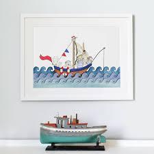 personalised boat at sea nursery print