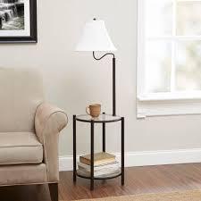 Floor Tables Mainstays Transitional Glass End Table Lamp Matte Black Walmartcom