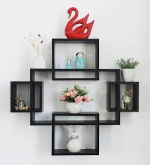 black engineered wood intersecting wall shelves set of 5 by driftingwood