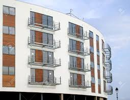 Architectural Details Of Modern Apartment Building On New Build - Modern apartment building facade
