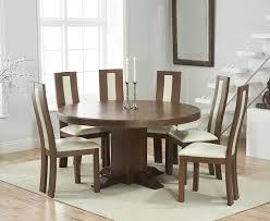 memphis solid dark oak 150cm round pedestal dining set with 4 esher cream chairs