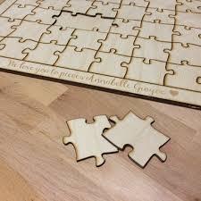 100 piece blank wooden puzzle guest book alternative