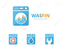 Set Of Laundry Logo Combination Washing Machine And Finance