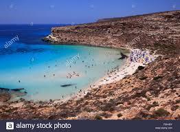 Beach Of Rabbits In Lampedusa Sicily Italy Stock Photo 89587231