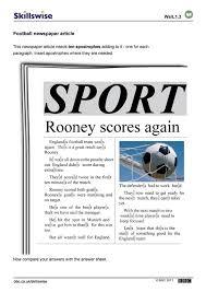 A Newspaper Article Football Newspaper Article