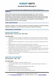 Sales Manager Cv Template Assistant Sales Manager Resume Samples Qwikresume