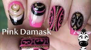 Pink Black And Gold Damask Gel Nail Art Amazingnailart Org