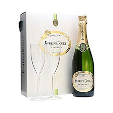 perrier jouët grand brut non vine chagne with 2 flutes in gift box 75 cl amazon co uk grocery