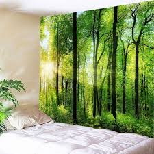 sun forest print tapestry wall hanging art green w91 inch l71 inch