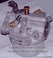 information about small engine carburetors various fuels and fuel and being the venturi in the old style carter 16 18 20 22 carburetors used on kohler engine models k90 k91 k141 k160 k161 and k181 can t be