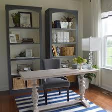 diy bookshelves in a home office makeover