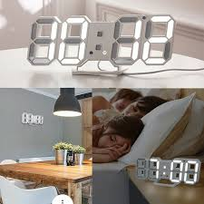 Digital <b>3D LED Wall</b> Clock Alarm Snooze Watch 12/24 Hour Display ...