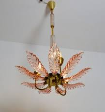 art deco pink murano glass chandelier 1930s 15