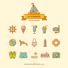 Summer Icons Cute Summer Icons Vector Free Download