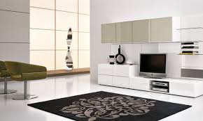 furniture idea. Furniture:Exciting White Living Room Wall Furniture With Black Floral Rug And Stylish Green Chair Idea