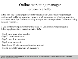 online marketing manager experience letter in this file you can ref experience letter materials for experience letter sample online marketing resume sample