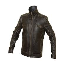 men s black rivet leather faded seam genuine leather jacket
