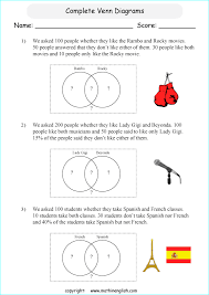 Venn Diagram Worksheets Year 6 Complete Venn Diagrams Printable Grade 6 Math Worksheet