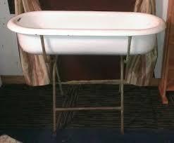 large vintage antique porcelain enamel baby bath tub wash basin white