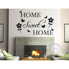 home sweet home family wall sticker e vinyl mural decor decal with flowers and erflies