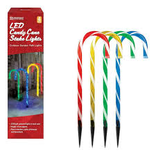 Christmas Candy Cane Garden Stake Lights Set Of 4 Set Of 4 Led Candy Cane Garden Pathway Lights Christmas Decorations