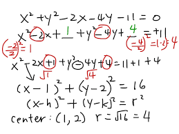 converting general form of circle to center radius form math showme