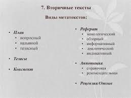 Письменная научно профессиональная коммуникация Структурно  Реферат монологический обзорный информативный аналитический индикативный • Аннотация • справочная • рекомендательная • Рецензия Отзыв