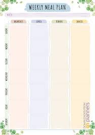 Wedding Meal Planner 019 Weekly Meal Plan Printable Download Floral Style Pdf
