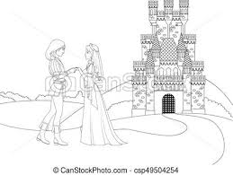 coloring book prince and princess in front of castle csp49504254