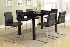 counter height table dining room furniture tall poundex loading zoom long high black glass kitchen set