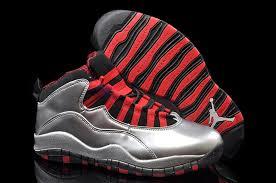 air jordan 10 retro patent leather metallic silver black legion red mens