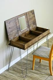 unique diy furniture. Unique Chest Shaped Rustic Wooden Diy Pallet Makeup Vanity Featuring 3 Separated Storage Units Inside And Attaches Upper Mirror With Scandinavian Iron Legs Furniture O