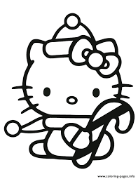 Small Picture Hello Kitty Holding Candy Cane Coloring Pages Printable
