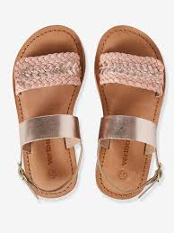 braided leather sandals for girls white light solid with design shoes vertbaudet