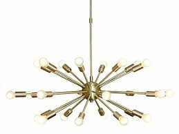this chandelier brings a splash of mid century modern style as it illuminates any room in your home crafted from metal in a sleek finish this
