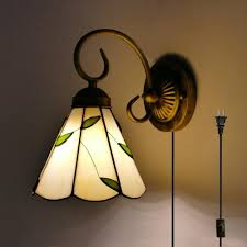 kiven tiffany wall lamp e26 1 light plug in bulb not included wall sconce glass shade 6 foot black cord bd0527 kiven lighting ping