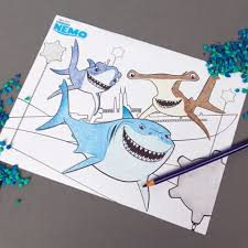 Finding Nemo Shark Coloring Page Disney Family