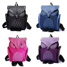 nylon fashion women animal owl backpack leather vintage gothic bag