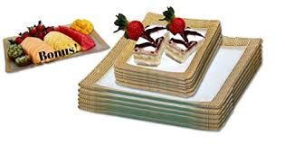 gac square tempered glass dinnerware set service for 6 dessert plates and dinner plates plus