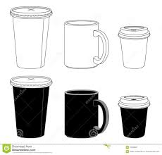 Glass Template Outline Template Paper Glass And Mug Stock Vector