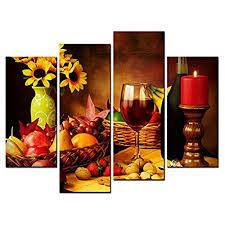 painting for dining room. SmartWallArt - Food Paintings Wall Art Fruit And Red Wine Beside Candlestick 4 Pieces Picture Print On Canvas Painting Stretched Framed Wooden Frame For Dining Room