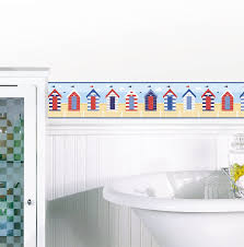 beach huts self adhesive wallpaper borders for bathrooms solid black border wallpaper