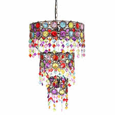 48x36cm bright round chandelier moroccan style with acrylic beads and gems
