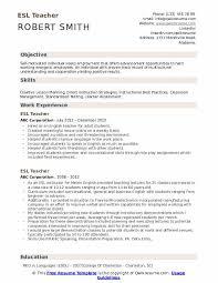 Education Objective For Resume Esl Teacher Resume Samples Qwikresume