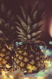 silver frame on pineapple fruit ...