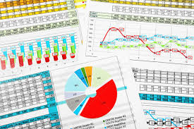 Multicolor Business Pie Chart And Bar Graph Reports