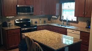 Kitchen Remodel Granite Countertops Rectangle Brown Wooden Kitchen Island With Brown Granite