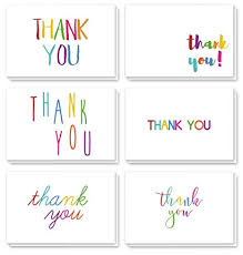 Blank Thank You Notes Thank You Cards 48 Count Thank You Notes Bulk Thank You Cards Set Blank On The Inside 6 Colorful Rainbow Font Designs Includes Thank You Cards