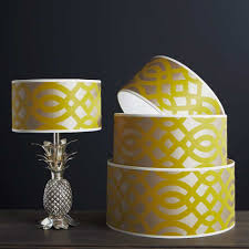 outstanding drum chandelier shades yellow and white color combination motif
