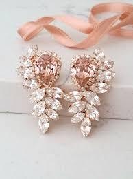 bridal earrings rose gold blush earrings morganite earrings morganite chandelier earrings large earrings swarovski earring cer earring